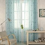 Ians Emporium Voile-Vorhang, orientalischer Shabby-chic-Stil mit Vogel-Motiv, Farbwahl - Entenschale, oberer Rand mit Schlaufen, 205 cm