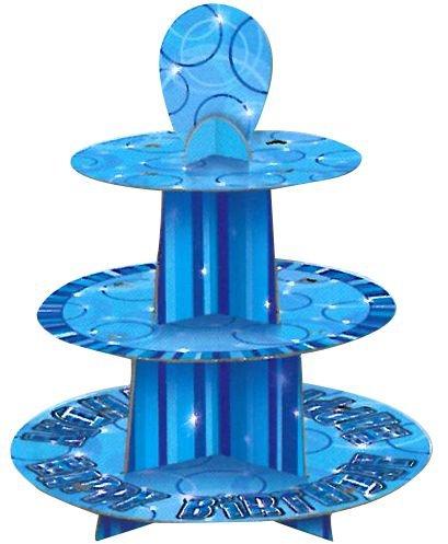 idealWigsNet Birthday Glitz Blue Cake Stand - 3 Tier - 30cm x 36cm -