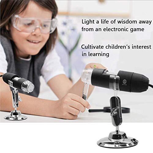 Mikroskop 1000 x Vergrößerung Magnification, Kinder Microscope Kamera mit 8-LEDs Metallständer für PC Computer Windows IOS Android Handys ()