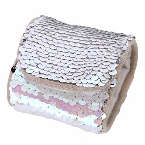 Coolster Armreif Doppelte Farbe Reversible Pailletten & Samt Futter Wristlet (Silber)