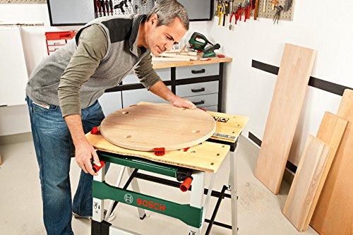 Bosch DIY PWB 600 Arbeitstisch, 4 Spannbacken, Karton (max. Tragfähigkeit 200 kg, Arbeitshöhe 834 mm, max. Spannbreite mit Klemme 525 mm) - 4