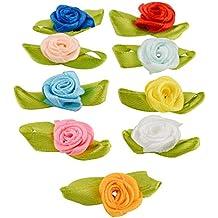 Kicode 100 PCS Multicolor Mini Cinta Arcos Rosas Flores Arte Artificial Ornamento Apliques Boda De coser Bricolaje