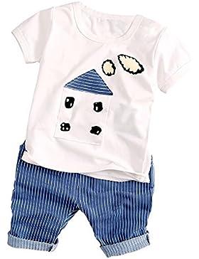 Moresave Camicia stampata in camicia stampata con maniche corte maniche corte del cotone neonate con set di abbigliamento...
