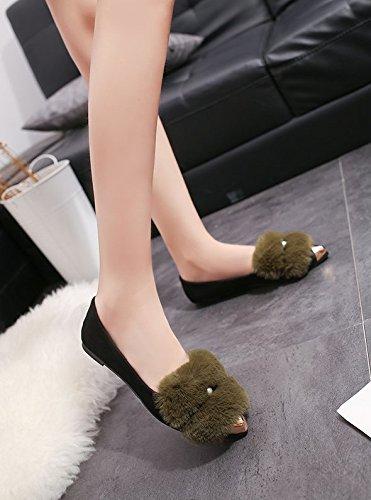 WTUS Femme Mocassin Femme Casual Plat Tout-match Chaussures Sandales vert1