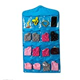#9: ShopAIS New Arrival hanging wall pocket storage bag Candy color transparent Underwear socks slippers jewelry wardrobe organizer- Blue