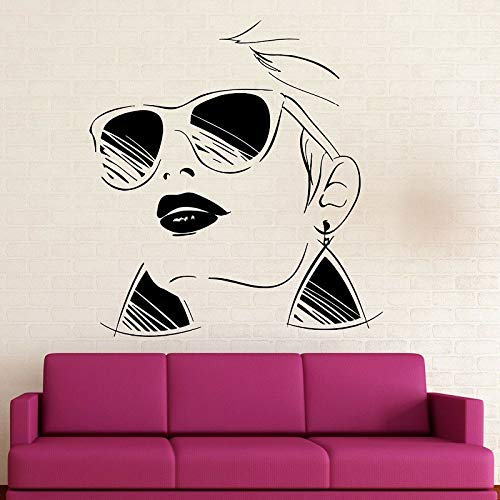 jiuyaomai Mode-Stil Brille Mädchen Vinyl Applique Beauty Salon Home Salon Wandaufkleber Mode Wandbild 42x45 cm