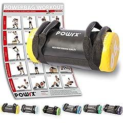 Idea Regalo - POWRX - Sandbag 5 kg, 10 kg, 15 kg, 20 kg, 25 kg, 30 kg - Perfetta per Migliorare Equilibrio, Forza, flessibilità, coordinazione e circolazione - Power Bag (5 kg/Giallo)