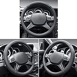 Cofit Microfiber Leather Steering Wheel Cover Universal Size 37-39cm Black