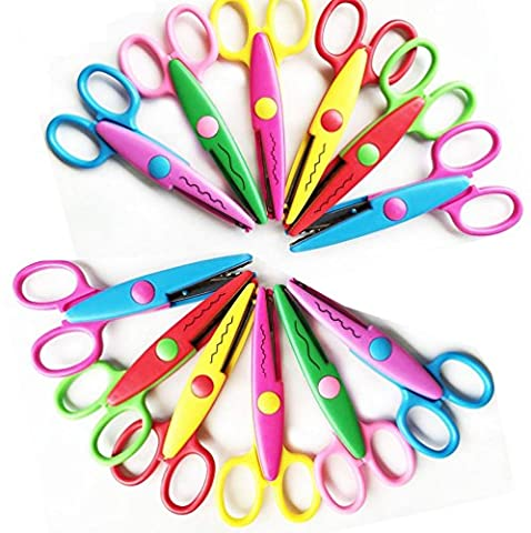 Pack of 12 Mixed Asscorted Color Paper Creative Craft Decorative Wave Lace Edge Edging Scissors 5IN - Scrapbook Forbici
