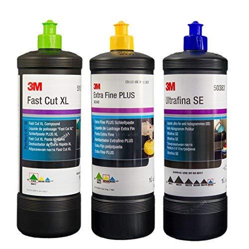 3M Kit de Polissage (pâte de polissage Fast Cut Plus XL, liquide de lustrage extra fin, liquide anti-hologrammes 1L)
