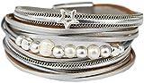 Mevina Damen Armband Stern Perle Perlenarmband Metallic Wickelarmband Magnetverschluss Luxus Premium Grau A1349