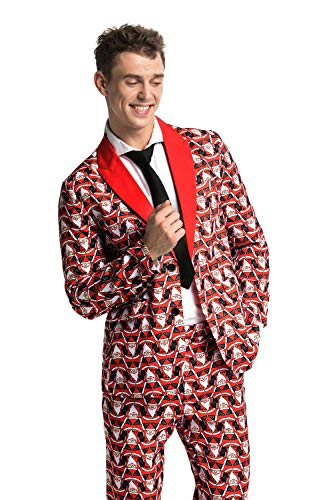 Modisch Herren Party Anzug Weihnachten Party Suits Kostüme Festliche Anzüge in Normalem Schnitt mit lustigen Mustern inkl Jackett Hose Krawatte von You Look Ugly Today