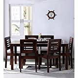 #5: Jipsom Handcrafted Six Seater Dining Set in Walnut Finish by Wudstuk