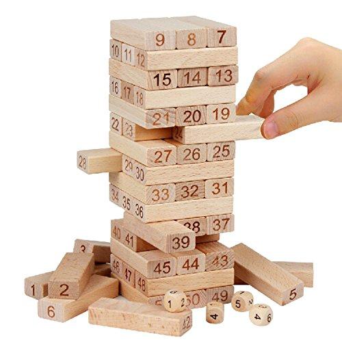 Mejores Juguetes Clásicos Educativos Diversión Familiar para Niños – Juego de Torre de Bloques Educativos    54 Unidades Idea para Regalo