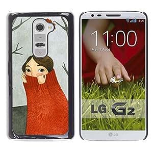 [Neutron-Star] Snap-on Series Handy Schale Schutzhülle Hülle Case Cover für LG G2 [Autumn Forest Gemälde Grau]