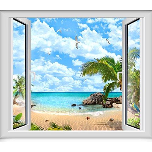 JINZAI 3D massive Wand Tapeten emulation Fenster Aussicht von selbstklebenden abnehmbar und unbezähmbaren Ozean Blick 2.