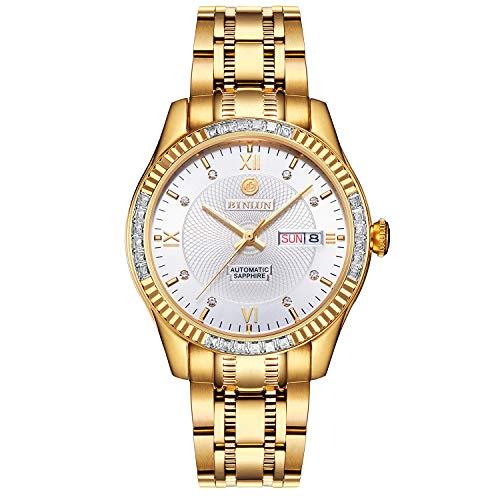 BINLUN 18K vergoldete Herren Luxusuhr japanische Automatik mit Kalender wasserdicht Uhren für Männer mit weißem Zifferblatt - Uhren Männer Verkauf Zum