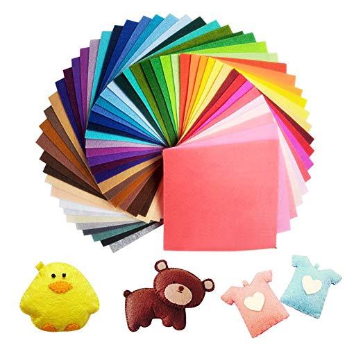 60 Farben Filzstoff 15 x 15cm Bastelfilz Filz Blätter Polyester Felt Fabric DIY Stoff filzplatten (Grau Und Rosa Papier-platten)
