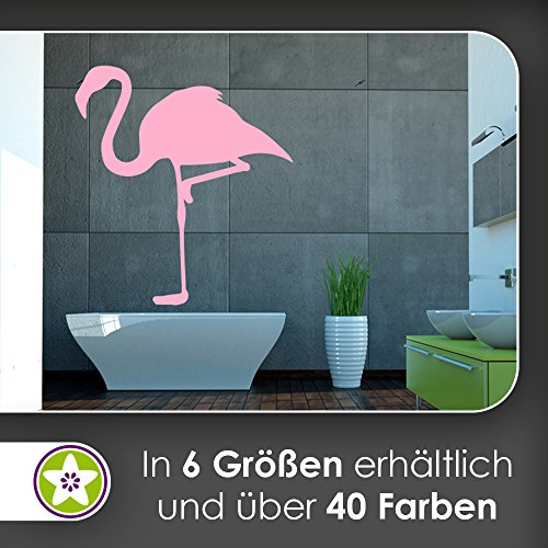 KIWISTAR Flamingo - Rosa Pink Vogel Feder Wandtattoo in 6 Größen - Wandaufkleber Wall Sticker