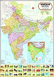 India Map : Political (70x100cm) ( Latest Jammu & Kashmir & Ladakh Bo