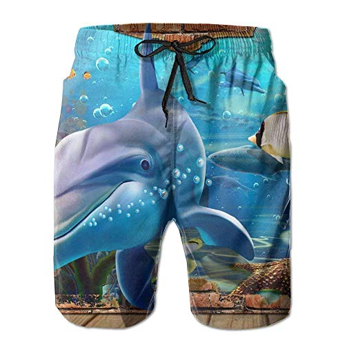 Men's Beach Board Shorts 3D Underwater World Dolphin Sea Turtle Animal Casual Shorts -