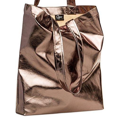 CASPAR TS1047 Damen metallic Shopper / Schultertasche Bronze