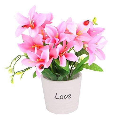 DealMux Ceramic Flowerpot Startseite Hochzeit Dresser Tischdekoration künstliche Blumen-Rosa