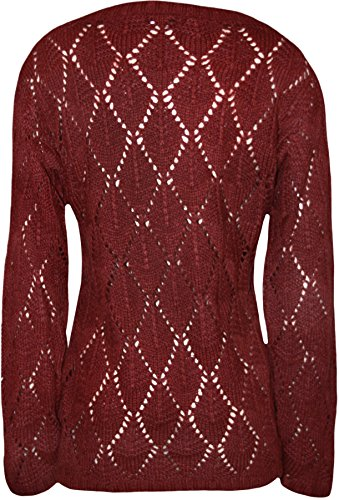 WearAll - Crochet tricot à manches longues col rond ourlet plongeant Haut - Pullover - Femmes - Tailles 36 à 42 Vin