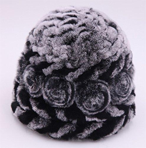 MEICHEN-sci invernale Hat ladies tappo a fungo carino Hat double Rex Pelo Coniglio hat warm hat per outdoor/regali, la cenere nera