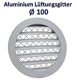 Aluminium Lüftungsgitter Abluftgitter Rund Gitter mit Insektennetz. Alugitter (Ø 100)