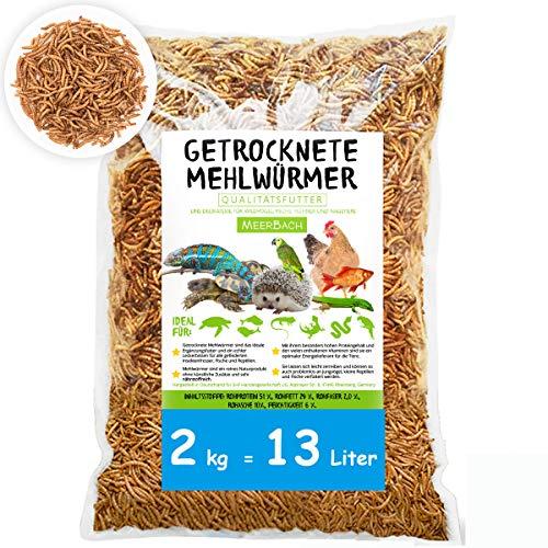 Mehlwürmer getrocknet • 2kg (entspricht 13 Litern!) PREMIUM Futter • Wildvogelfutter • absolut frei von Zusatzstoffen • der gesunde und natürliche Snack für Fische, Vögel, Reptilien, Hühner und Igel
