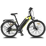 URBANBIKER vélo électrique VTC VIENA (Jaune 28'), Batterie Lithium-ION Samsung 840Wh (48V et 17,5Ah), Moteur 350W, 28 Pouces, Freins hydraulique Shimano.
