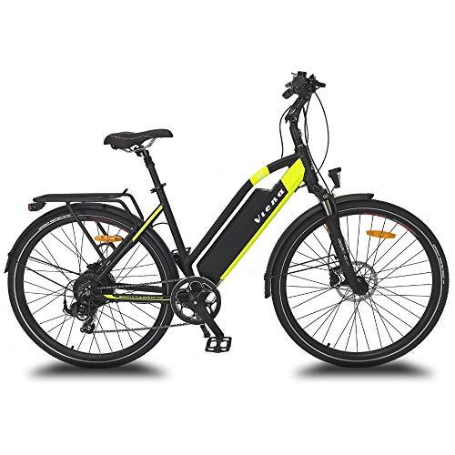 """URBANBIKER vélo électrique VTC VIENA (Jaune 28""""), Batterie Lithium-ION Samsung 840Wh (48V et 17,5Ah), Moteur 350W, 28 Pouces, Freins hydraulique Shimano."""