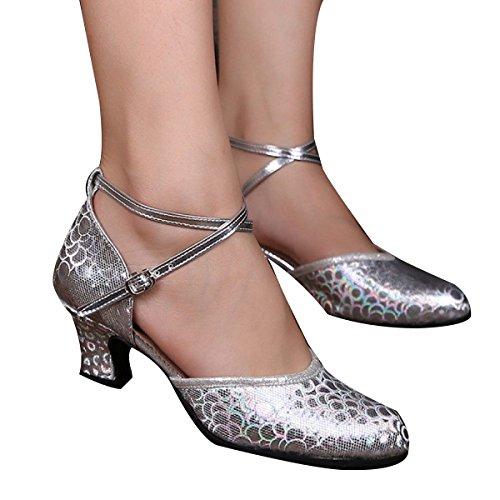 Frauen PU Die Ferse Weicher Boden Das Muster Ballsaal Tanzschuhe Silver