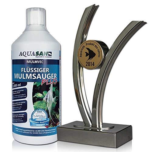AQUASAN Aquarium Mulmvec Flüssiger Mulmsauger (GRATIS Lieferung in DE - Keine Mulmglocke + mechanisches Absaugen von Mulm, Schlamm im Aquarium mehr nötig, reduziert Aquariumgeruch), Inhalt:1 Liter