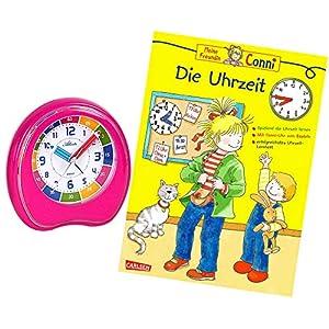 Kinderwecker Ohne Ticken Mädchen Rosa mit Lernbuch Conni Buch Uhrzeit Lernen