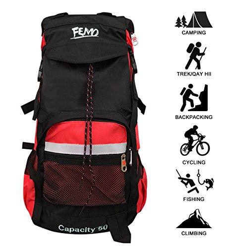 kunpron (60 Herren Wandern Rucksack Leicht Wasser beständig, Schwarz Casual groß Trekking Rucksäcke für Reisen Camping Klettern Bergsteiger Outdoor Sport … (Black)