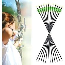 """Funtress 12pcs 32 """"flechas de aluminio 3"""" flechas de plumas de paletas con puntos de campo Consejos reemplazables para el arco recurvo y arco compuesto de orientación o caza"""