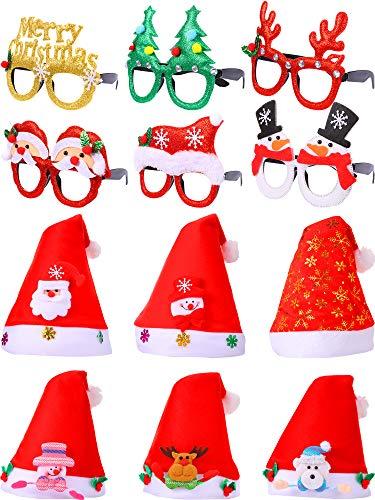 SATINIOR 12 Stücke Weihnachten Glitter Party Sonnenbrille Kreative Lustige Brillen Weihnachtsmütze Weihnachtsmann Vlies Hüte, Urlaub Kostüm Party Supplies Dekoration