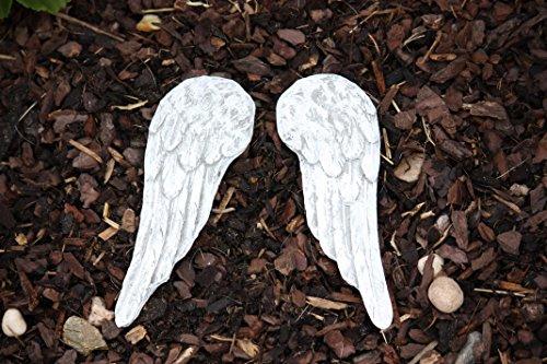 hundeinfo24.de Grabschmuck kleine Engel Flügel aus massiven Steinguss, frost- und wetterfest bis -30°C