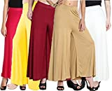Lili Women's Stretchy Malia Lycra Wide Leg Palazzo Pants Pack of 5 (Free Size)