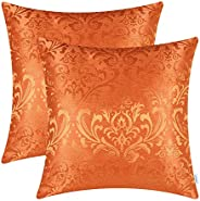 CaliTime Pack of 2 Throw Pillow Covers Cases for Couch Sofa Home Decoration Vintage Damask Floral Shining &
