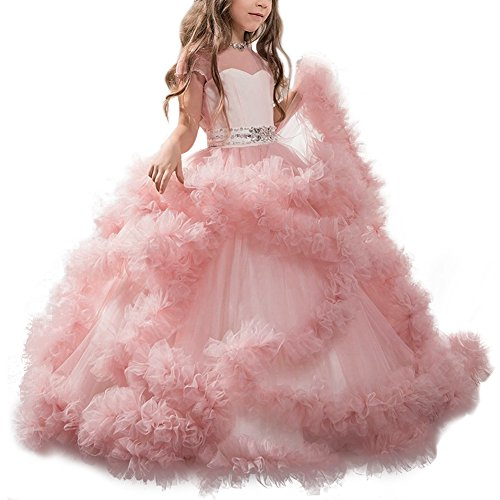 Mädchen-Kleid-Spitze-Prinzessin-Hochzeits-Abschlussball-Kleid-Erste Kommunion-Kleider #1 Rosa 12-13 Jahre (Kommunion Kleider Mit ärmeln)