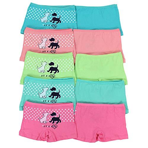 TupTam Mädchen Slips Unterhose mit Aufdruck 10er Pack, Farbe: Farbenmix 6, Größe: 104-110