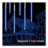 Vikdio Meteorschauer Regen Lichter, 50cm 10 Spiralröhren 540 LEDs wasserdicht Eiszapfen Fallen für Hochzeit Weihnachten Garten Baum Home Decor, Unterstützung 2 Sätze Haken zusammen (Blau)