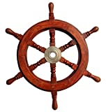 Wood and Brass Decorative Ship Wheel 15'