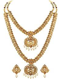 Shining Diva Fashion Latest Combo Design Necklace Set for Women Traditional Gold Plated Jewellery Set for Women (Golden) (10594s)