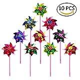 10pcs plástico molino–Molinete viento Spinner adorno de jardín molino niños juguete Lawn Garden Party Decor