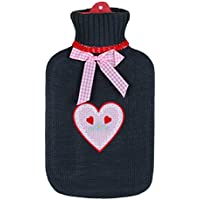 BRANDSSELLER Wärmeflasche Wärmekissen mit Strickmuster-Bezug - 1,6L - Anthrazit/Rosa kariertes Herz mit Herzchen... preisvergleich bei billige-tabletten.eu