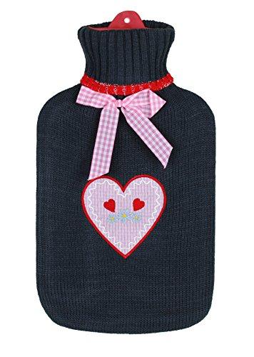 BRANDSSELLER Wärmeflasche Wärmekissen mit Strickmuster-Bezug - 1,6L - Anthrazit/Rosa kariertes Herz mit Herzchen und Blümchen